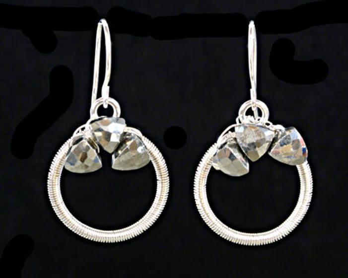 #3539 ~ Silver & Pyrite Hoop Earrings