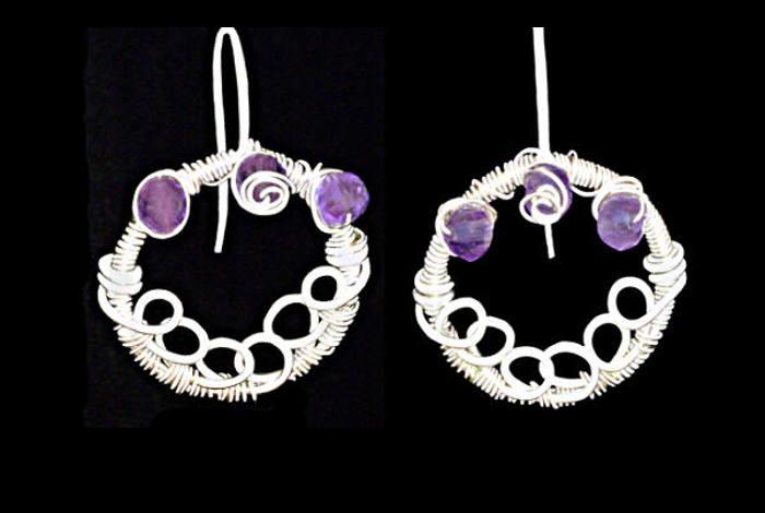 #3460 ~ Silver & Amethyst Hoop Earrings