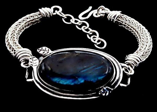 #1517 ~ Labradorite Bezel & Woven Argentium Silver Rope Bracelet