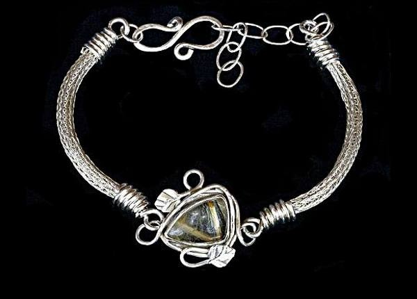 #1551 ~ Woven Argentium Silver Rope Bracelet with Rutilated Quartz Bezel