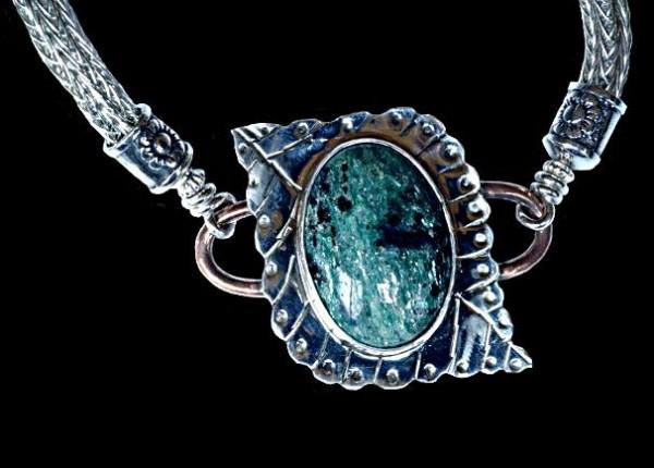 #1553 ~ Fuchsite Bracelet in Argentium Silver with Copper