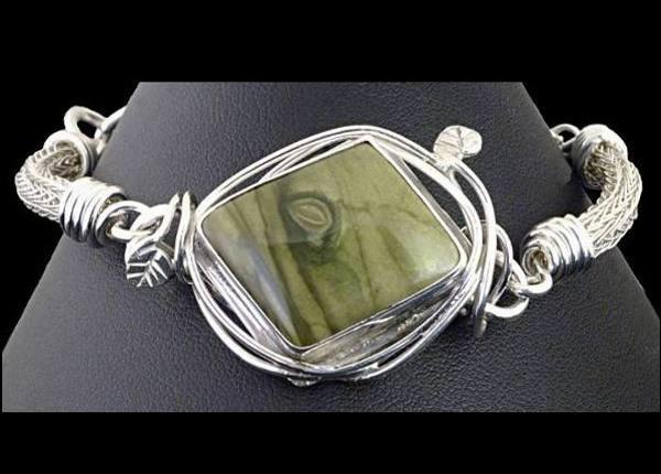 #1554 ~ Lizardite Bezel Bracelet in Argentium and Fine Silver