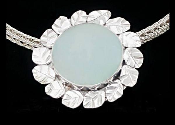 #2526 ~ Mexican Green Fluorite Bezel Pendant in Argentium Silver