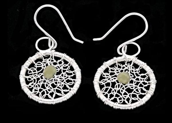 #2544 ~ White Druzy Leaf Motif Bezel in Argentium Silver