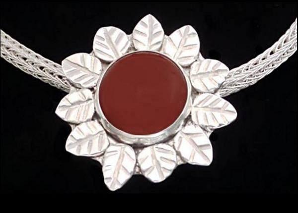 #2549 ~ Carnelian Bezel with Leaf Motif in Argentium Silver