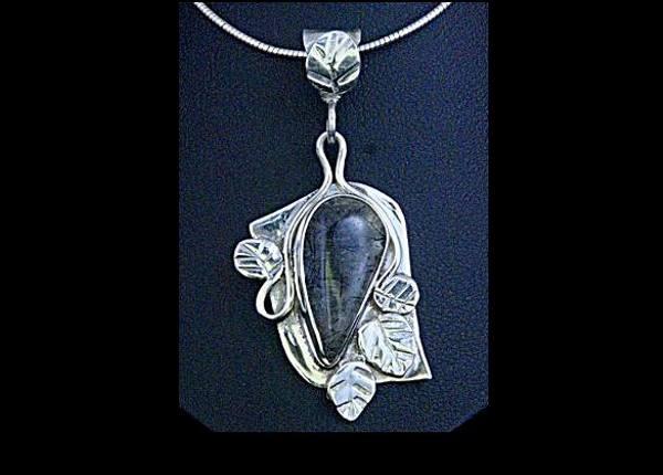 #2555 ~ Tourmilated Quartz Pendant in Argentium and Fine Silver