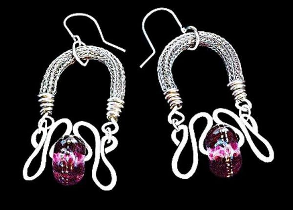 #3296 ~ Sculptured Earrings of Woven Silver Rope with a Black n' Pink Lamp Work Bead
