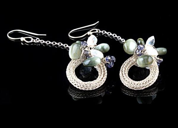 #3311 ~ Wreath Earrings with Cat's Eye Chrysoberyl, Moonstone & Iolite