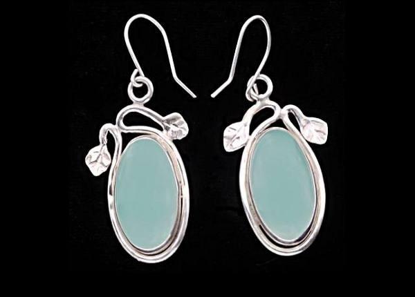 #3524 ~ Mexican Fluorite Bezel Earrings with Leaf Motif, in Argentium Silver