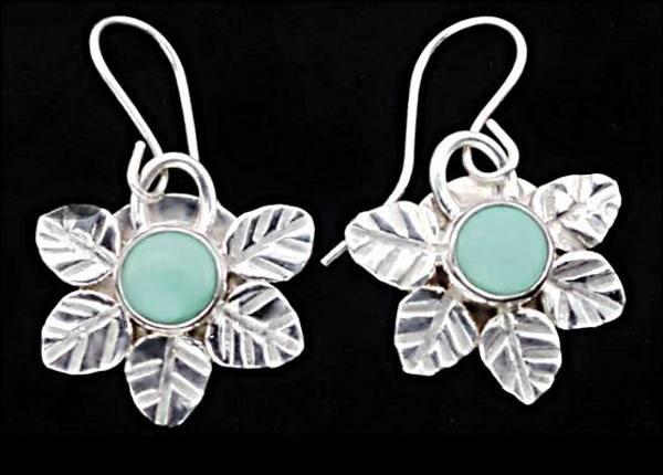 #3545 ~ Veriscite Bezel with Leaf Motif in Argentium Silver